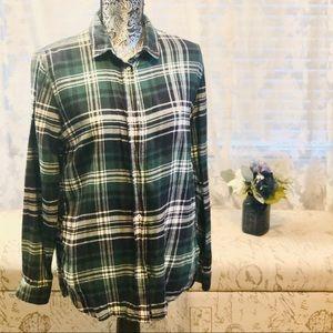 H&M Dark Green & White Checkered Flannel Shirt